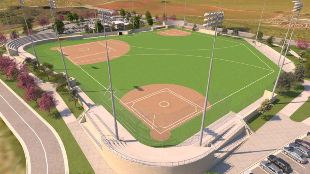 A computerized concept drawing of the Athletic Research and Performance Center ball field
