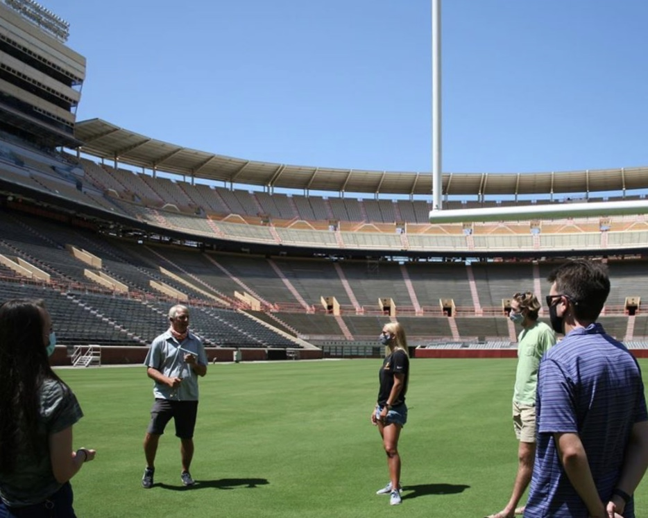 Professor John Sorochan guides the GSA on a tour of Neyland Stadium
