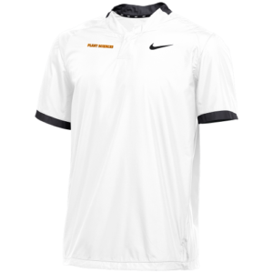 White short sleeve polo with black Nike check and black collar and cuffs with orange Plant Sciences on the right chest