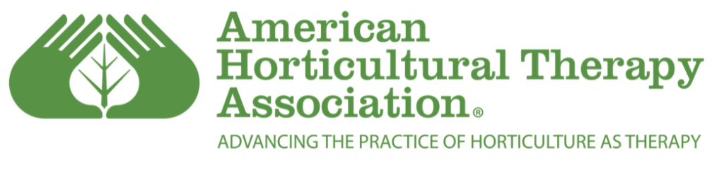 """American Horticultural Therapy Association logo with their name, motto, """"advancing the practice of horticulture as therapy,"""" and icon with two hands with a leaf between them all in green"""
