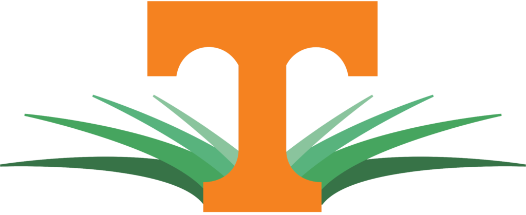 UT Turfgrass program logo, an orange Tennessee Power T with stylized grass graphics behind the T